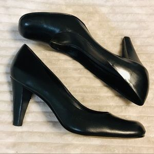 Franco Sarto DUBLIN Black Leather Heels Pumps sz 9